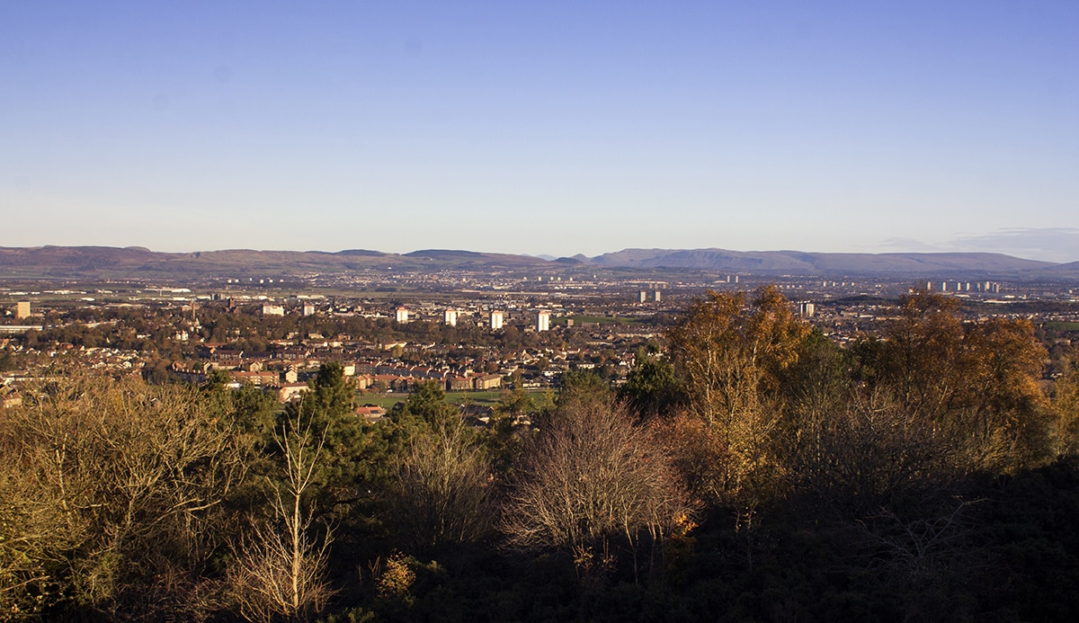 Veiw of the town of Paisley and the Strath Clyde valley to Loch Lomond and Ben Lomond from the Glennifer hills on a Autumn morning.