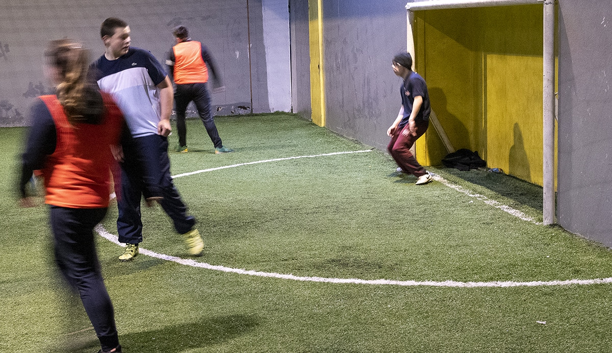 Indoor football session, at local leisure centre
